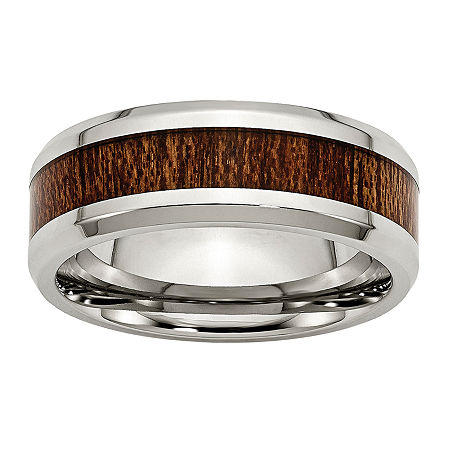 Personalized Mens 8mm Stainless Steel & Brown Wood Inlay Wedding Band, 12 1/2 , No Color Family