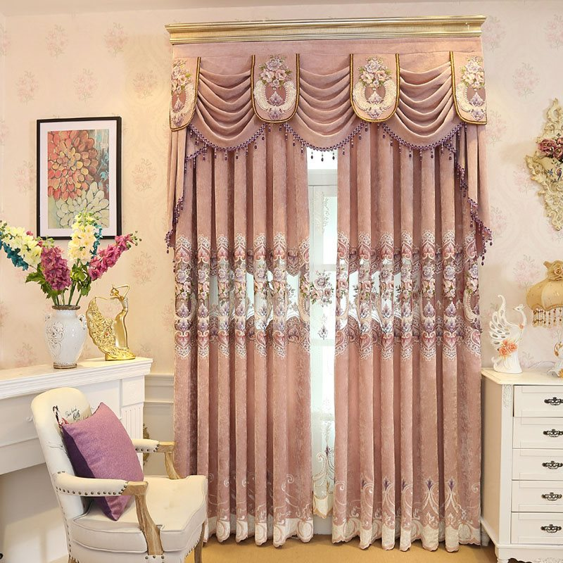 European Elegant Hollowed-out Embroidered Thick Chenille Custom Grommet Curtains