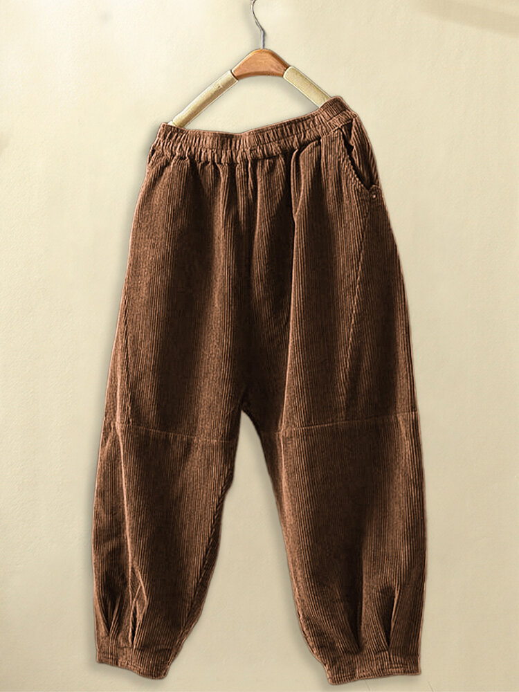 Corduroy Casual Loose Plus Size Pants for Women