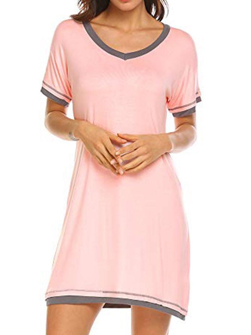 Ericdress Regular Color Block Single V-Neck Simple Nightgowns