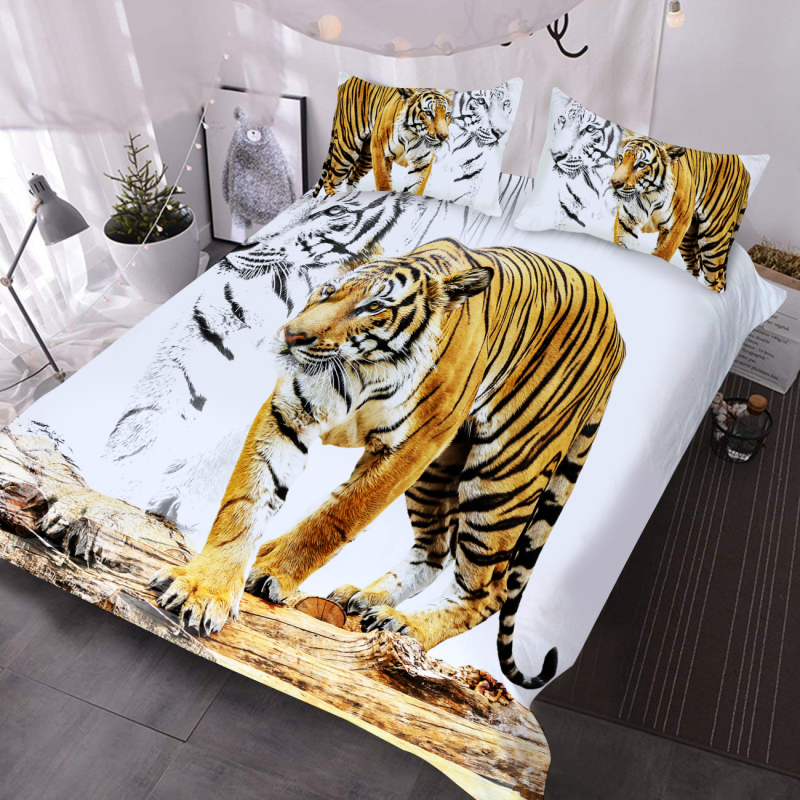Walking Tiger 3D Animal Comforter Lightweight 3-Piece Polyester Comforter Set with 2 Pillowcases