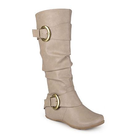 Journee Collection Womens Paris Wide Calf Slouch Riding Boots, 9 1/2 Medium, Beige