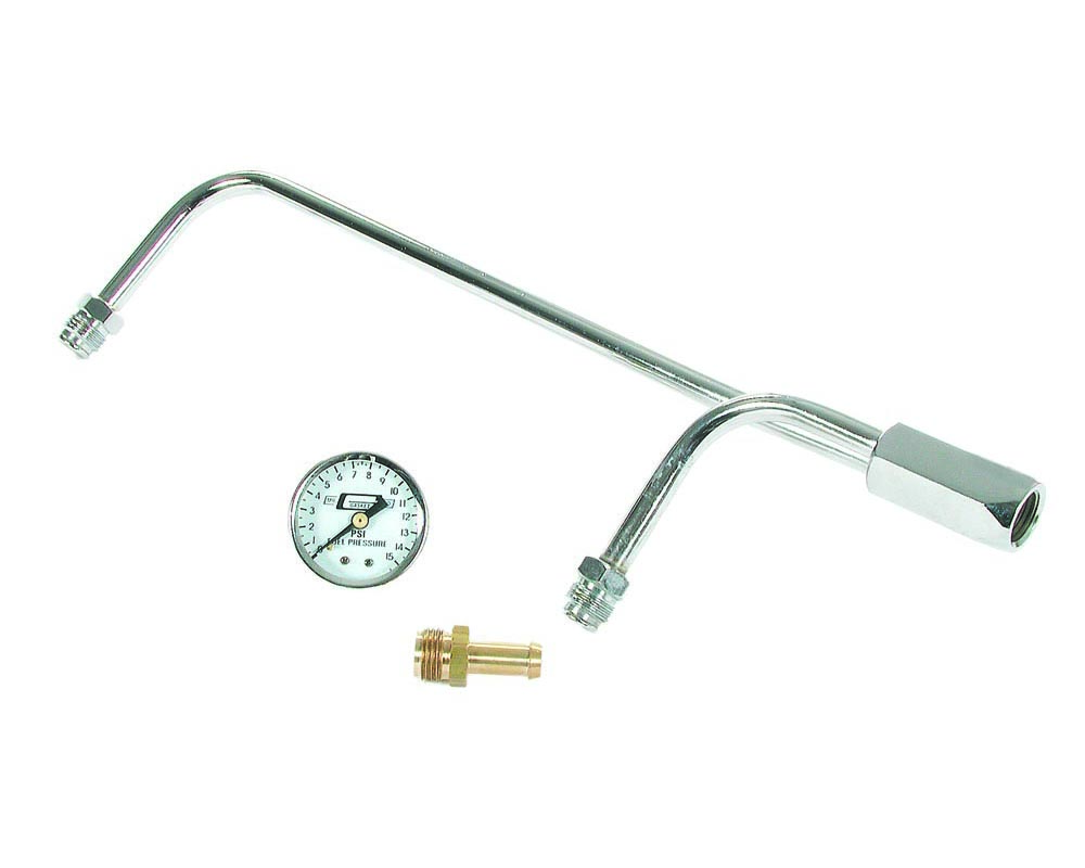 Mr. Gasket Fuel Line Kit with Gauge & Fittings - Chrome