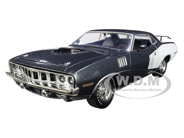 1971 Plymouth Barracuda 340 Winchester Gray Metallic with White Stripes Limited Edition to 5880 pieces Worldwide 1/24 Diecast Model Car by M2 Machine
