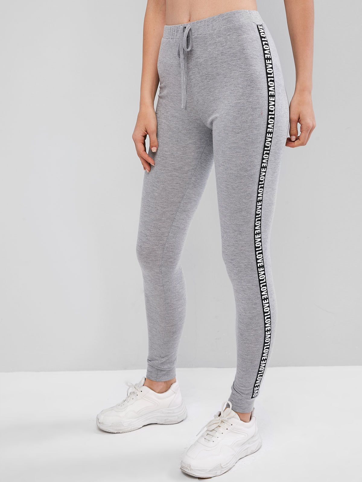Letter Patched Heathered High Waist Leggings
