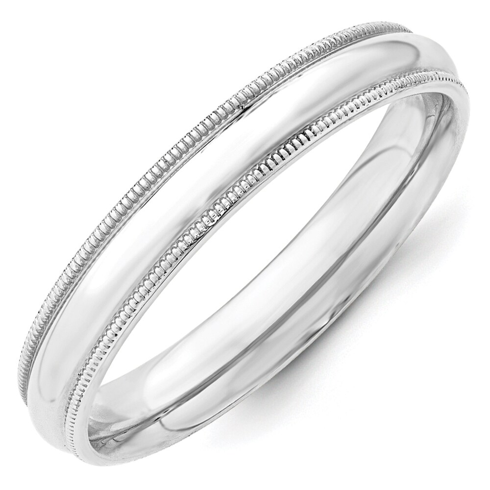 14K White Gold 4mm Polished Milgrain Comfort Fit Band by Versil (6)