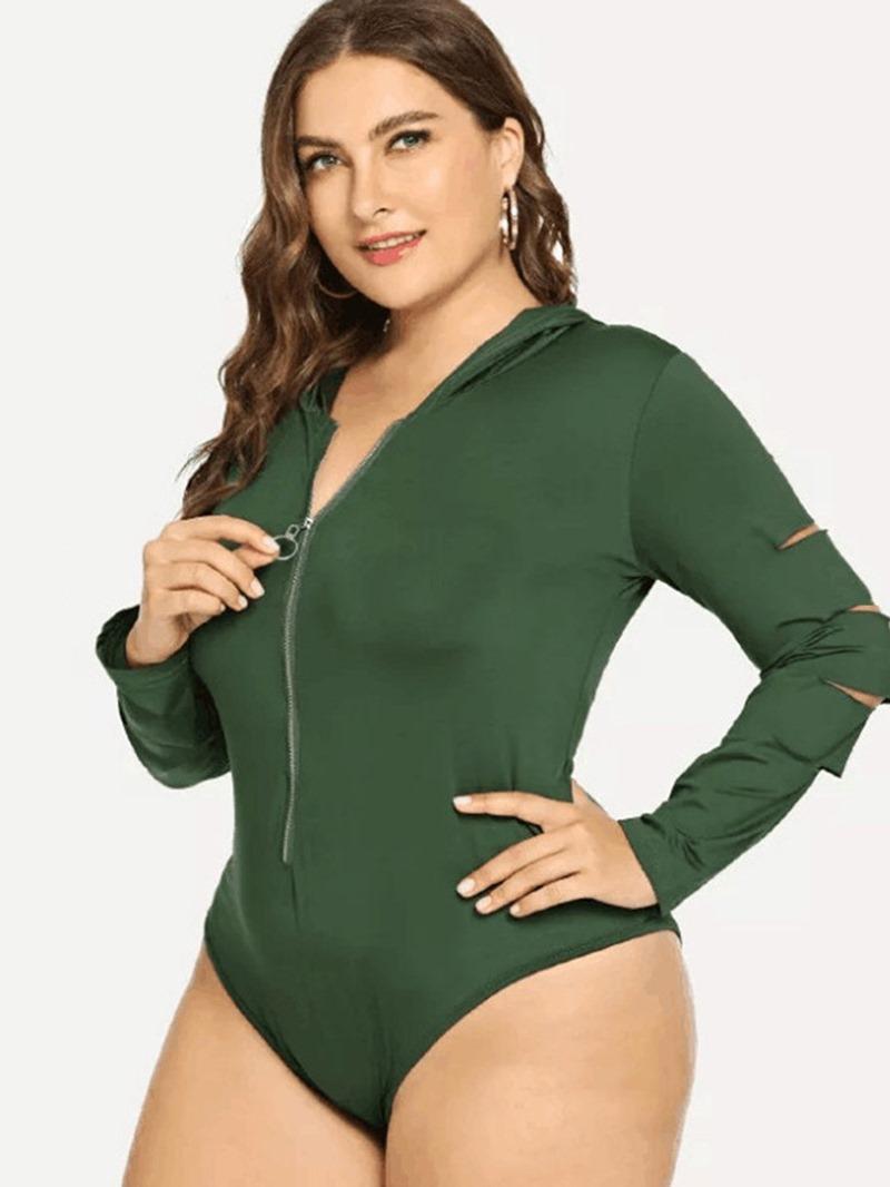 Ericdress Plus Size Plain Zipper Sexy Slim Jumpsuit