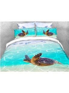 Sea Turtle and Sea Soft Warm Duvet Cover Set 4-Piece 3D Animal Bedding Set