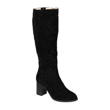 Journee Collection Womens Gentri Wide Calf Stacked Heel Over the Knee Boots, 6 Medium, Black