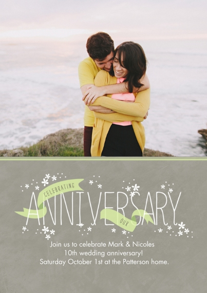 Anniversary Flat Glossy Photo Paper Cards with Envelopes, 5x7, Card & Stationery -Celebratory Ribbons