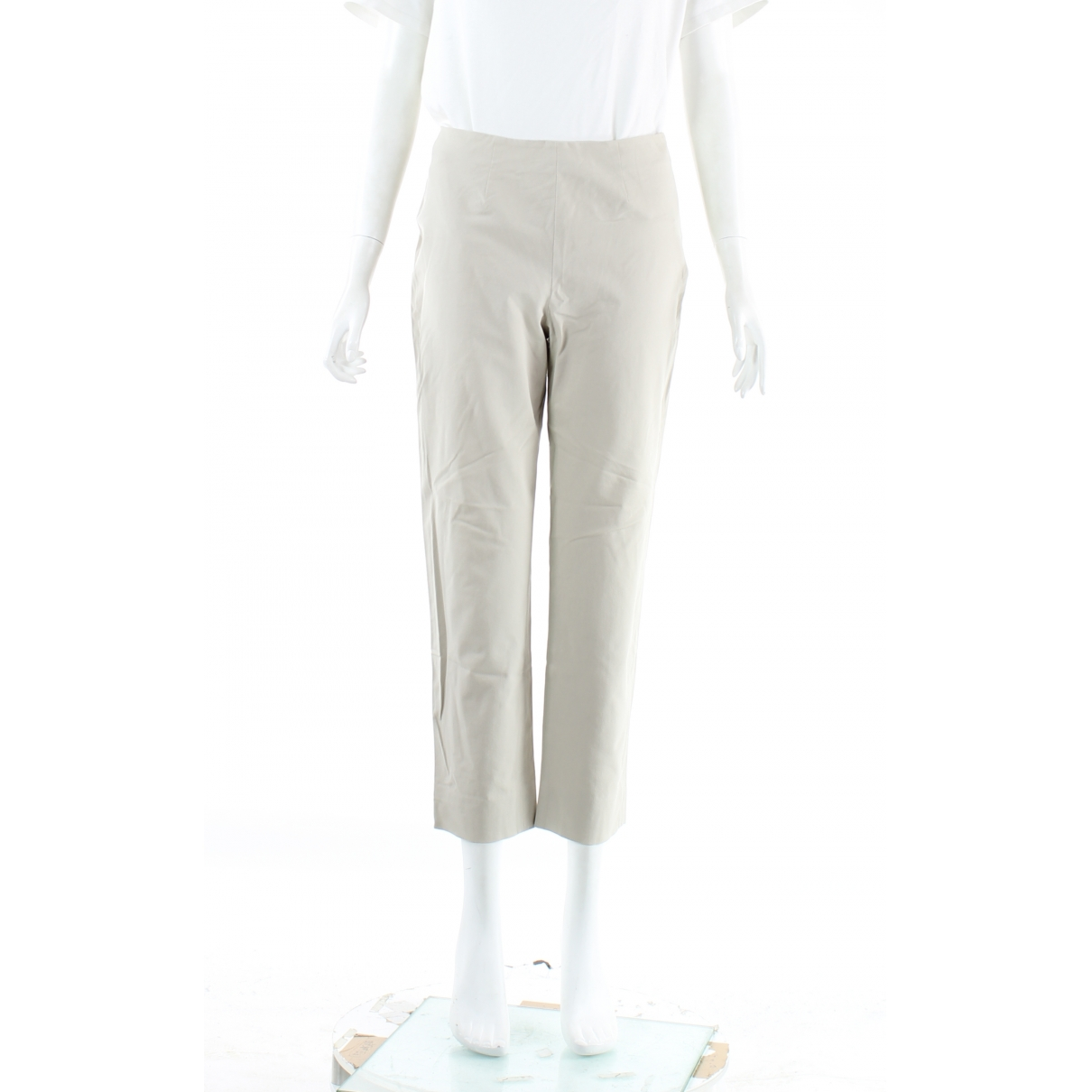 Autre Marque \N Grey Cotton Trousers for Women 42 IT