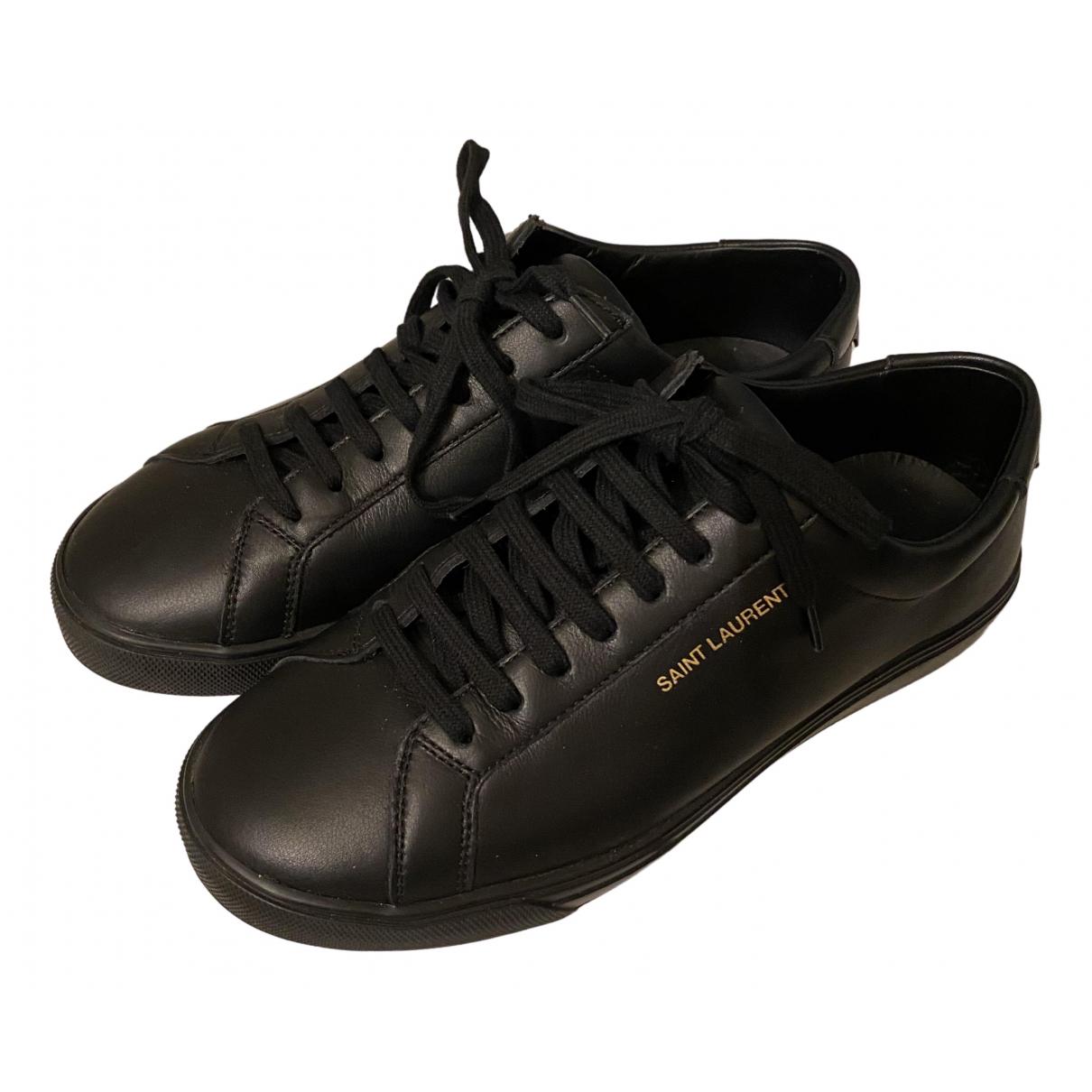 Saint Laurent Andy Black Leather Trainers for Women 38 EU