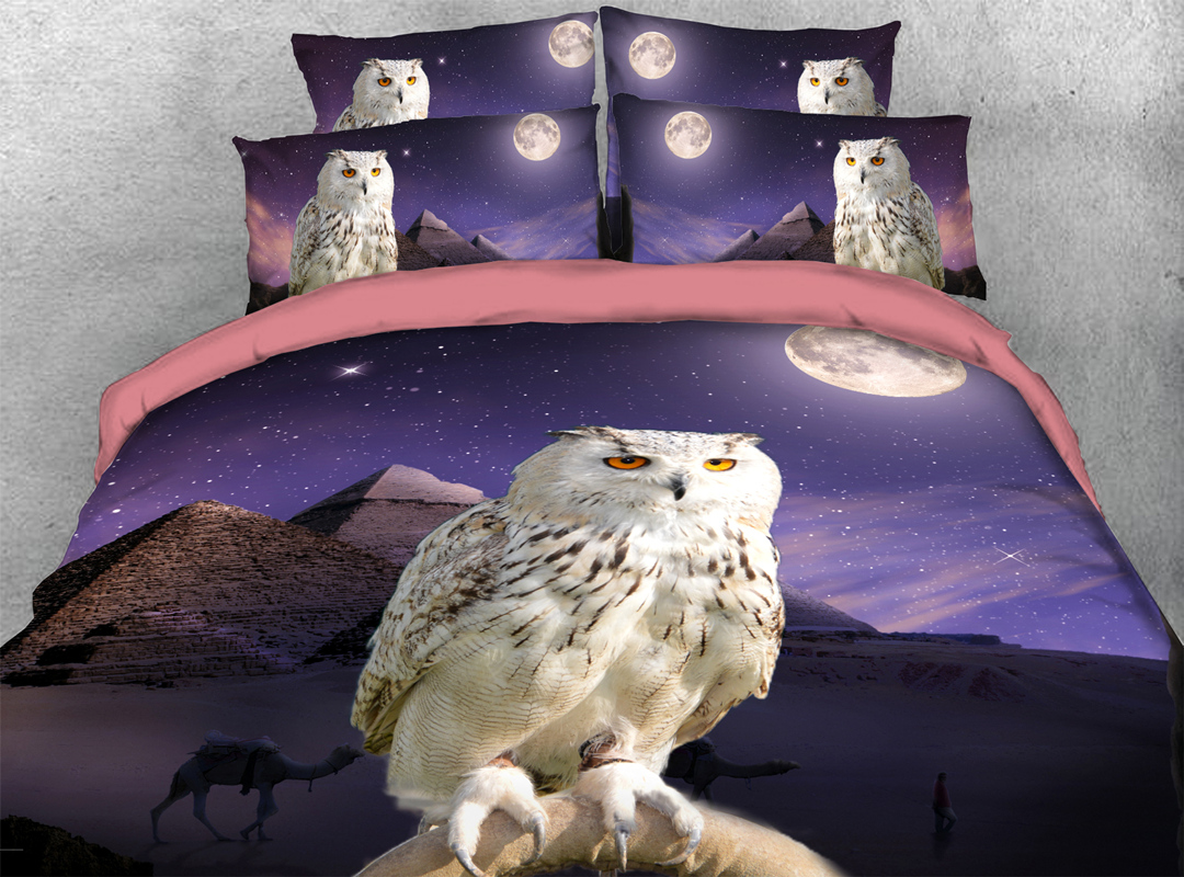 White Owl 3D 4pcs Animal Durable Bedding Sets No-fading Soft Reactive Printing Zipper Duvet Cover with Ties