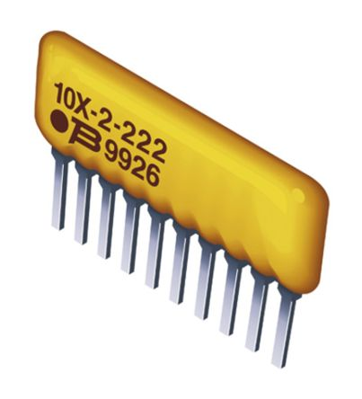 Bourns 4600X Series 10kΩ ±2% Bussed Resistor Network, 3 Resistors, 0.5W total SIP package Pin (50)
