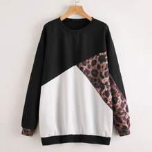 Color Block Leopard Pullover