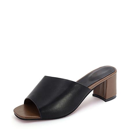 Yoins Black Square Toe Heel Mules