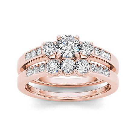 1 CT. T.W. Diamond 14K Rose Gold Bridal Ring Set, 7 1/2 , No Color Family