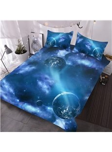 Galaxy Outer Space Blue Planets 3D Printed 3-Piece Comforter Sets