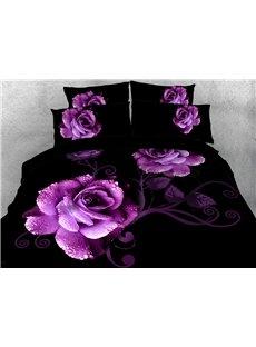 Purple Roses Duvet Cover 3D Printed 4-Piece Floral Bedding Sets/Duvet Cover Set