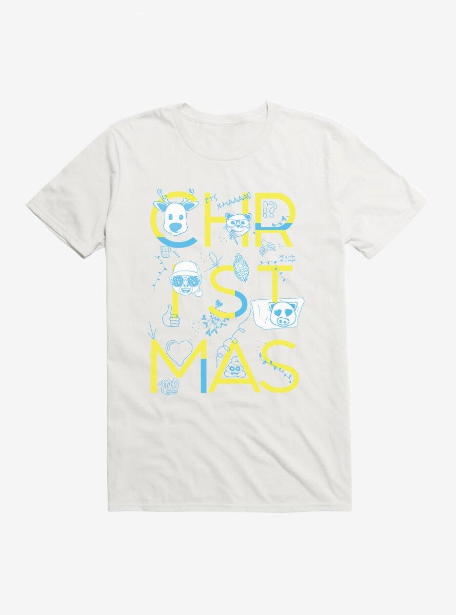 Emoji Holiday Icons Christmas Script T-Shirt