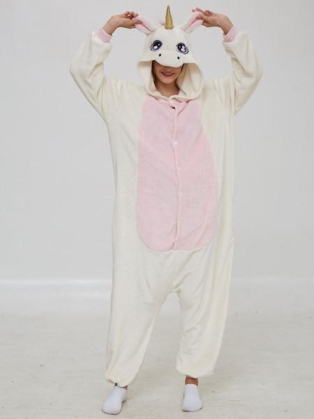 Milanoo Unicorn Kigurumi Pajamas Onesie Furry Tail White Flannel for Adult Winter Sleepwear Animal Costume Halloween