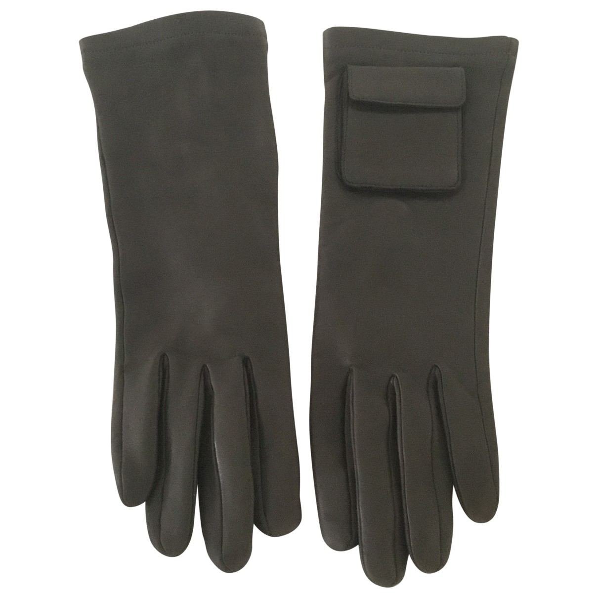 Agnelle \N Khaki Leather Gloves for Women 7.5 Inches