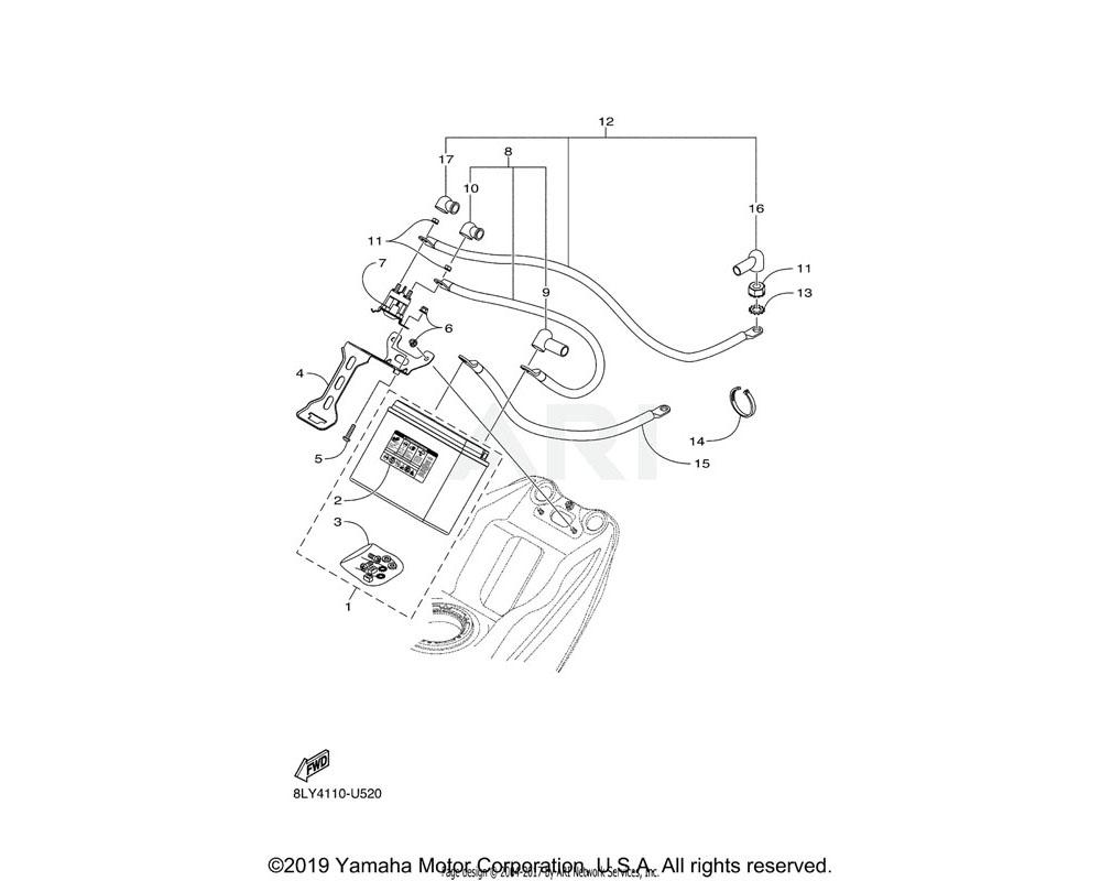 Yamaha OEM 8JP-H2158-00-00 BRACKET, BATTERY 2