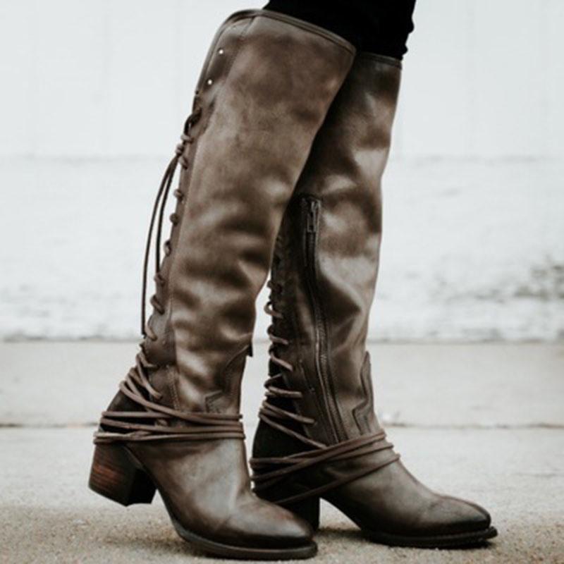 Ericdress Patchwork Side Zipper Round Toe Western Boots