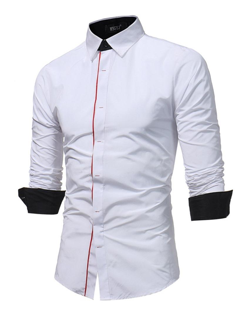 Ericdress Color Block Button Casual Slim Mens Shirt