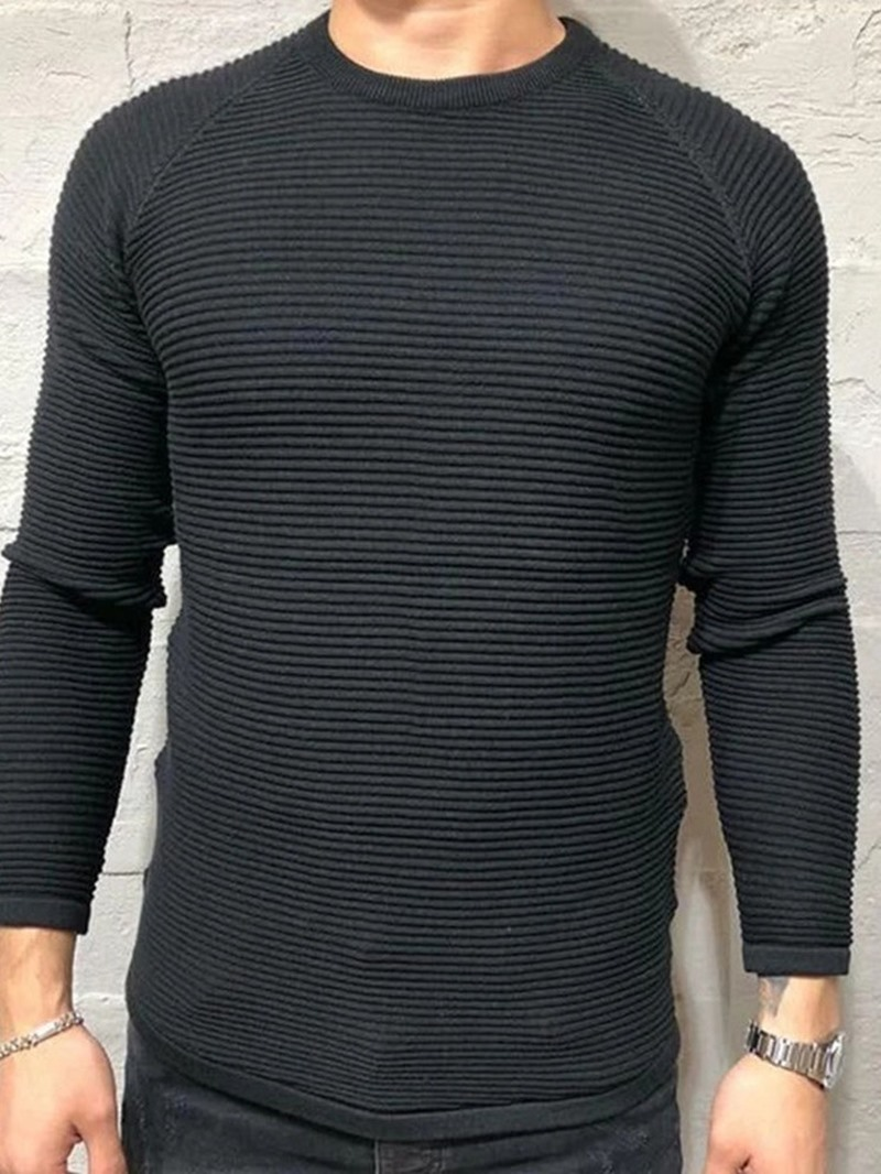 Ericdress Plain Round Neck Standard Casual Men's Slim Sweater