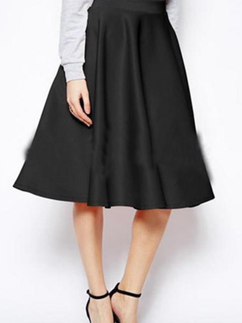 Ericdress Patchwork Ball Gown Mid-Calf High Waist Skirt