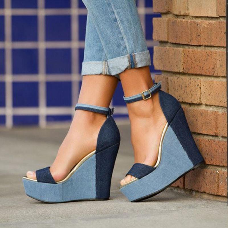 Ericdress Denim Platform Color Block Wedge Women's Sandals