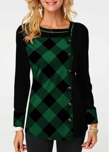 Christmas Women'S Green Plaid Print Long Sleeve Tunic T Shirt Xmas Button Detail Longline Casual Top By Rosewe - L