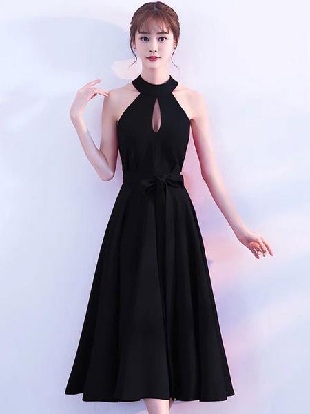 Milanoo Black Prom Dresses Short Cocktail Dress Halter Cutoff Sleeveless Ribbon Sash Little Black Dress