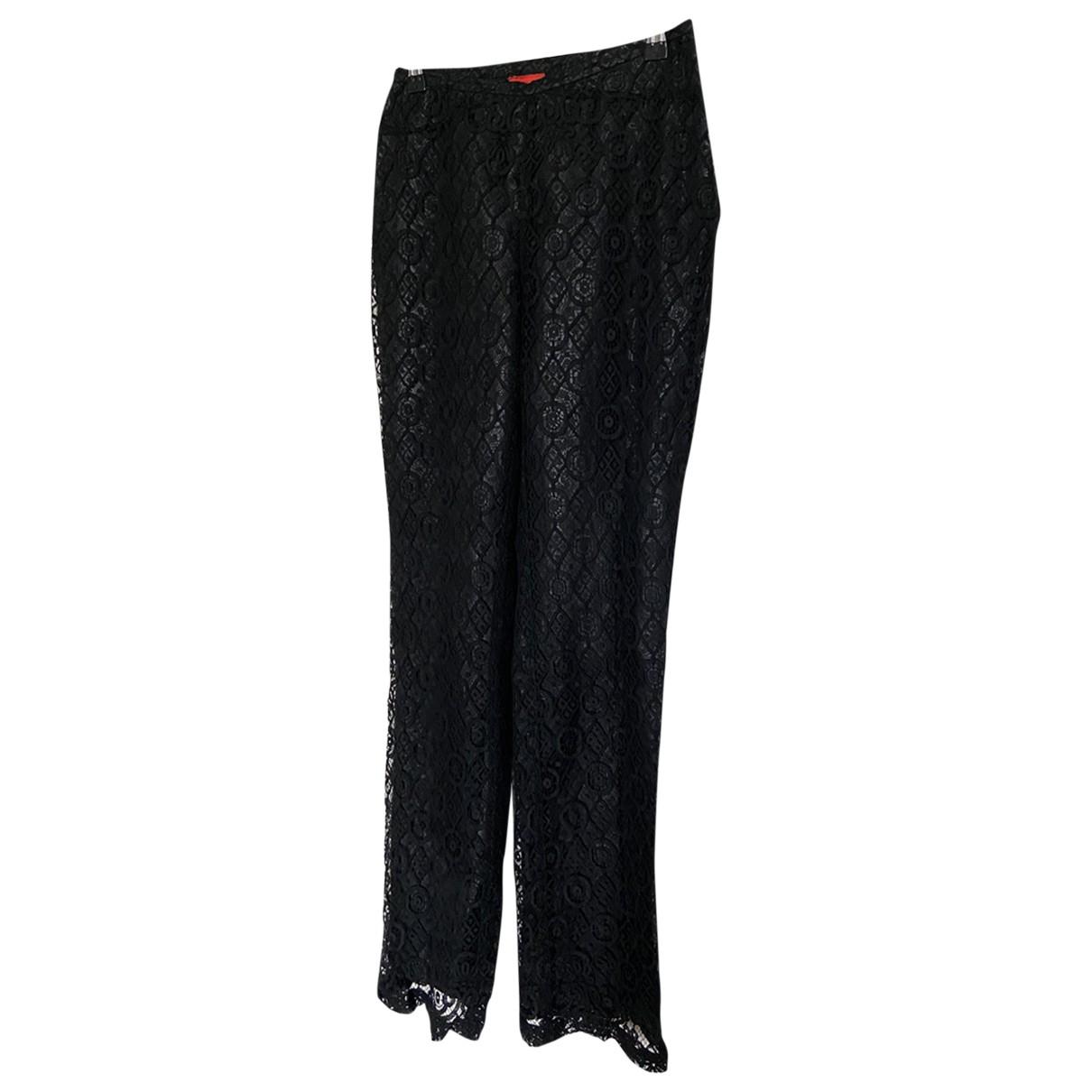 Christian Lacroix \N Black Cotton Trousers for Women 38 FR