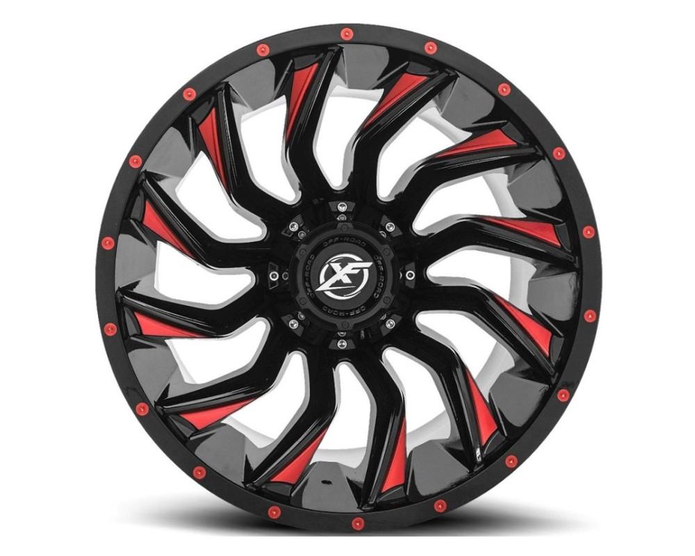 XF Off-Road XF-224 Wheel 20x10 5x139.7|5x150 -24mm Gloss Black w/ Red Milling