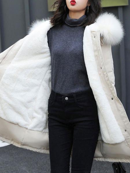 Milanoo Women Parka Coats White Hooded Long Sleeve Drawstring Zip Up Winter Coat