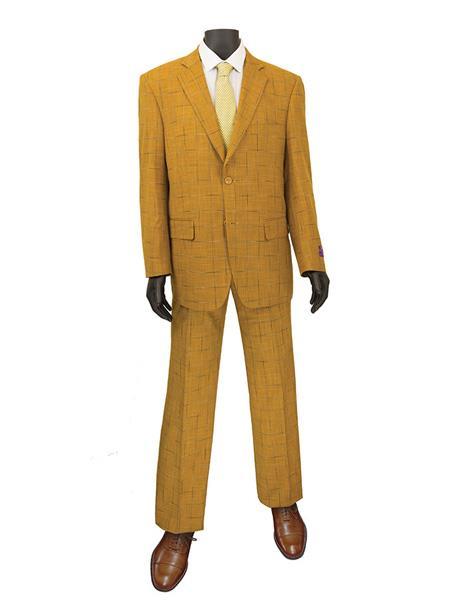 Mens Plaid ~ Window Suit 2 Button Suit Ginger
