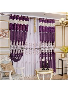 Luxury Purple Decorative Polyester Custom Semi Sheer Curtains for Living Room and Bedroom