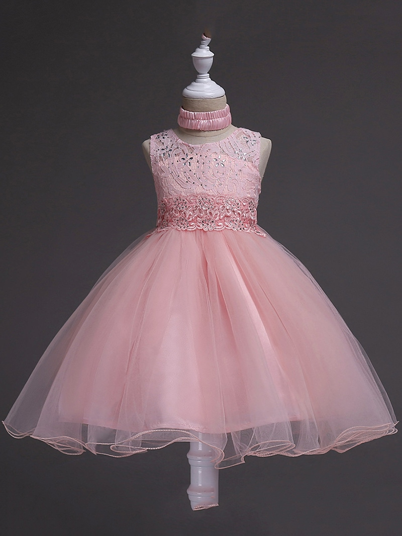 Ericdress Embroider Mesh Lace Girl's Sleeveless Ball Gown Dress