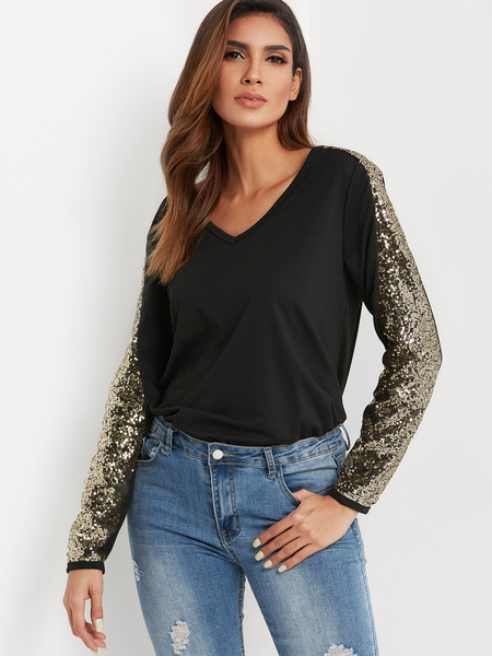 Yoins Black V-neck Long Sleeved With Sequins Embellished Top
