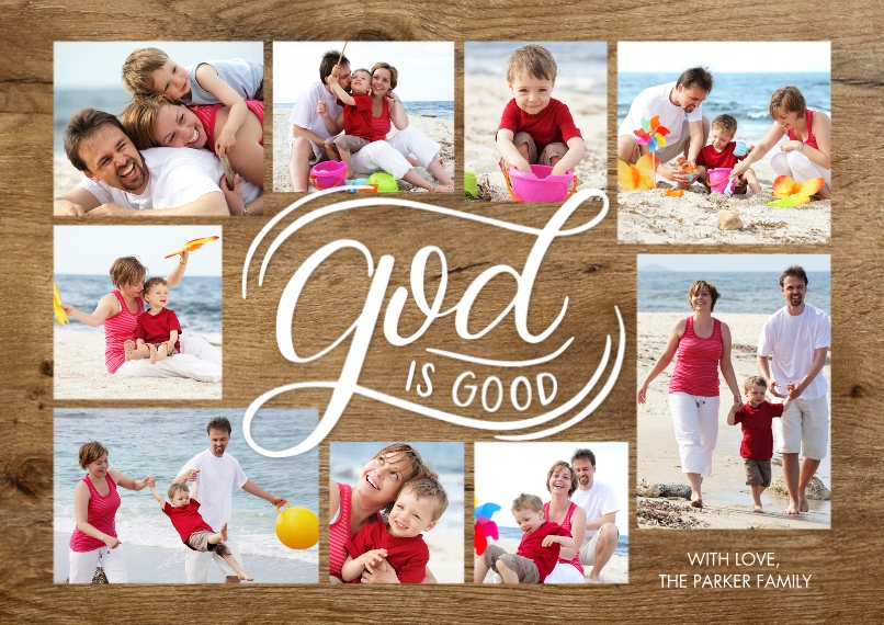 Christmas Photo Cards Flat Matte Photo Paper Cards with Envelopes, 5x7, Card & Stationery -Christmas Script God is Good Collage by Tumbalina