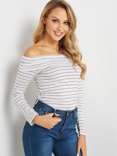 Yoins White Tiered Design Stripe Off The Shoulder Long Sleeves Top