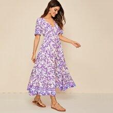 Floral V-neck Drawstring A-line Dress