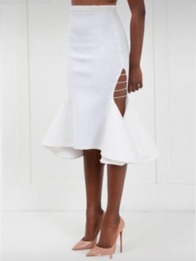 Ericdress Asymmetrical Bowknot Mid-Calf Bodycon Skirt