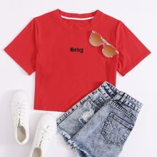 Letter Embroidery Tee