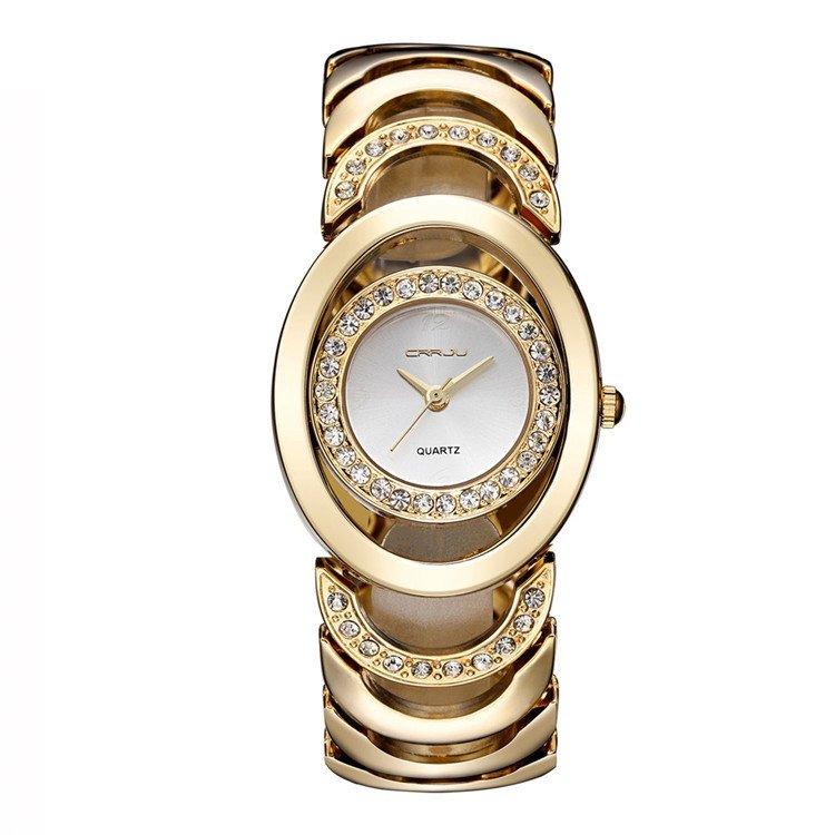 CRRJU Ladies Gold Watch Rhinestone Stainless Steel Quartz Luxury Watches for Her