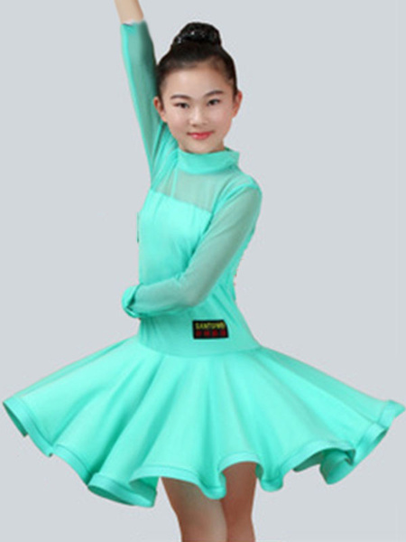 Milanoo Dance Costumes Latin Dancer Dresses Kids Mint Green Ballroom Dancing Wears For Girls Halloween