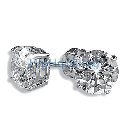 9mm Round Signity CZ Diamond Solitaire Earrings