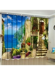 Azure Sea and Stone House Printed Custom Blackout Curtain for Living Room